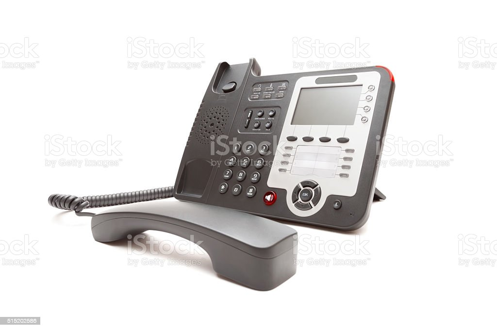 Black office phone isolated stock photo