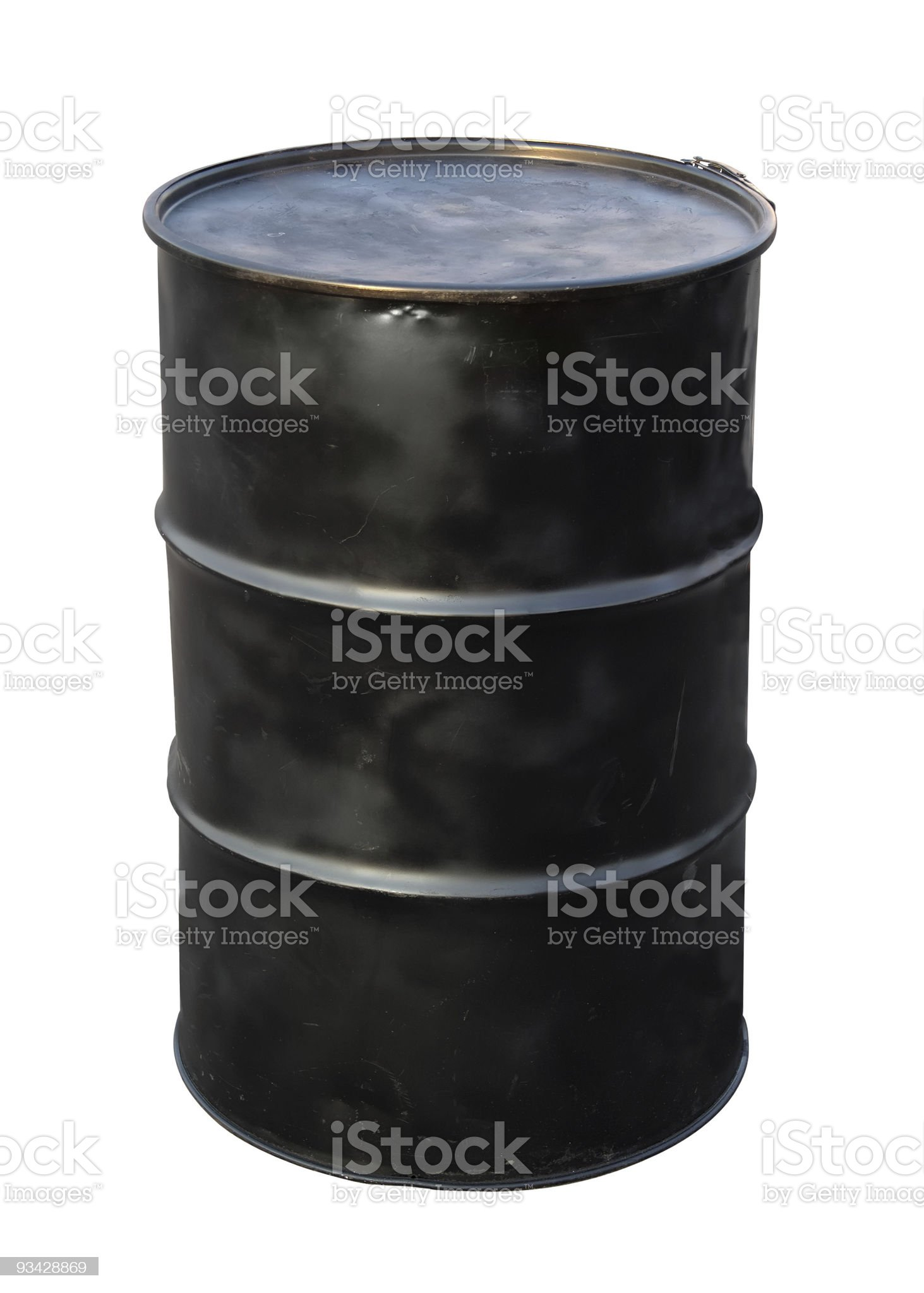 A black oil barrel on a white background royalty-free stock photo