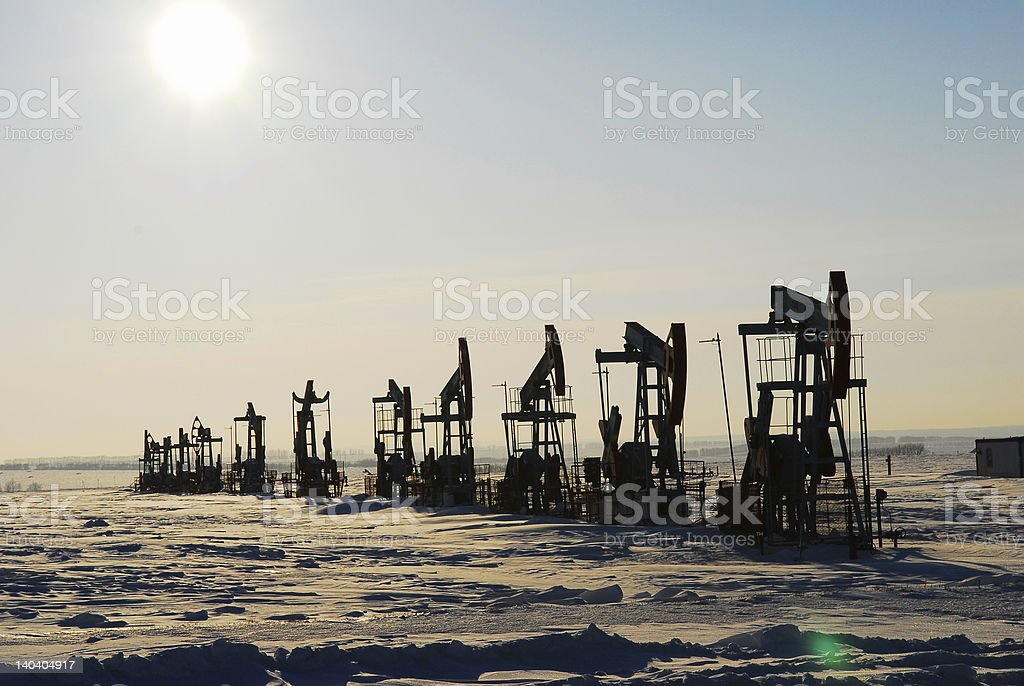 Black oil pump stock photo