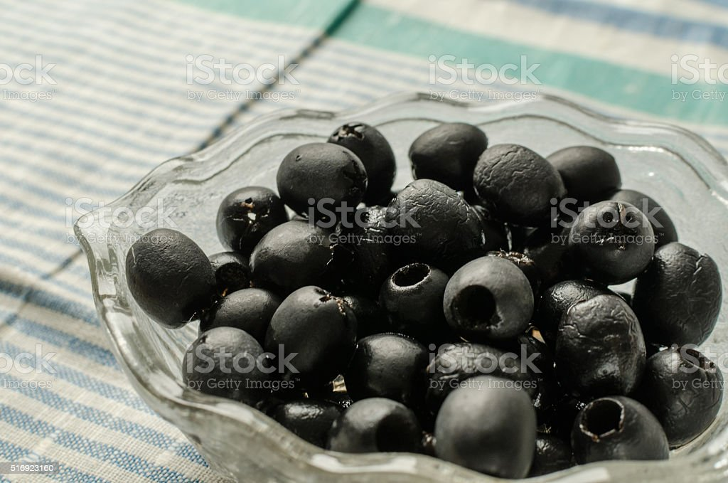 Black Olive Appetizer in a Glass Dishware stock photo