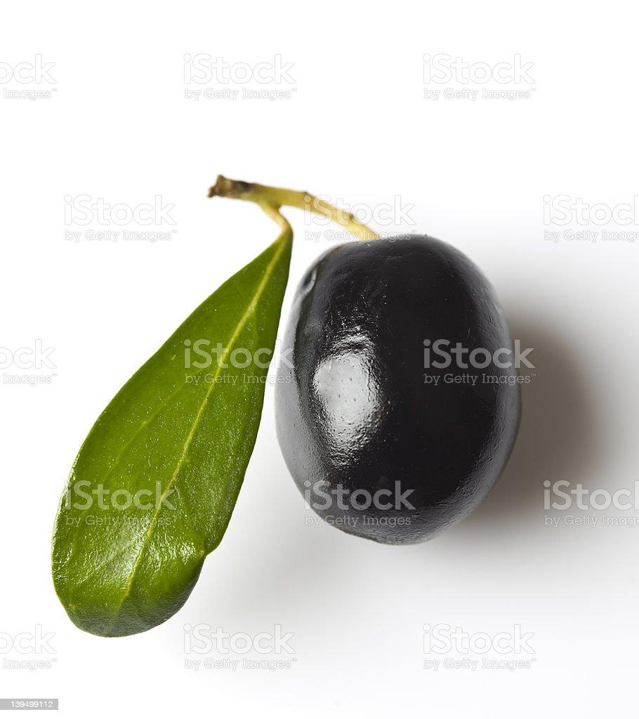 Black olive on white stock photo