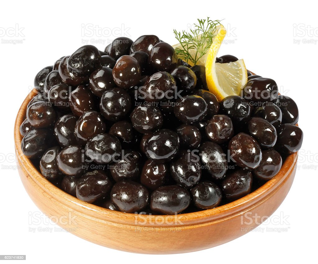 black olives in wooden bowls stock photo