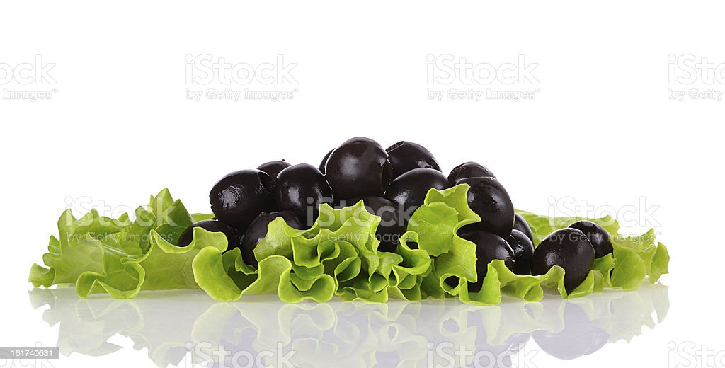 Black olives on green salad royalty-free stock photo