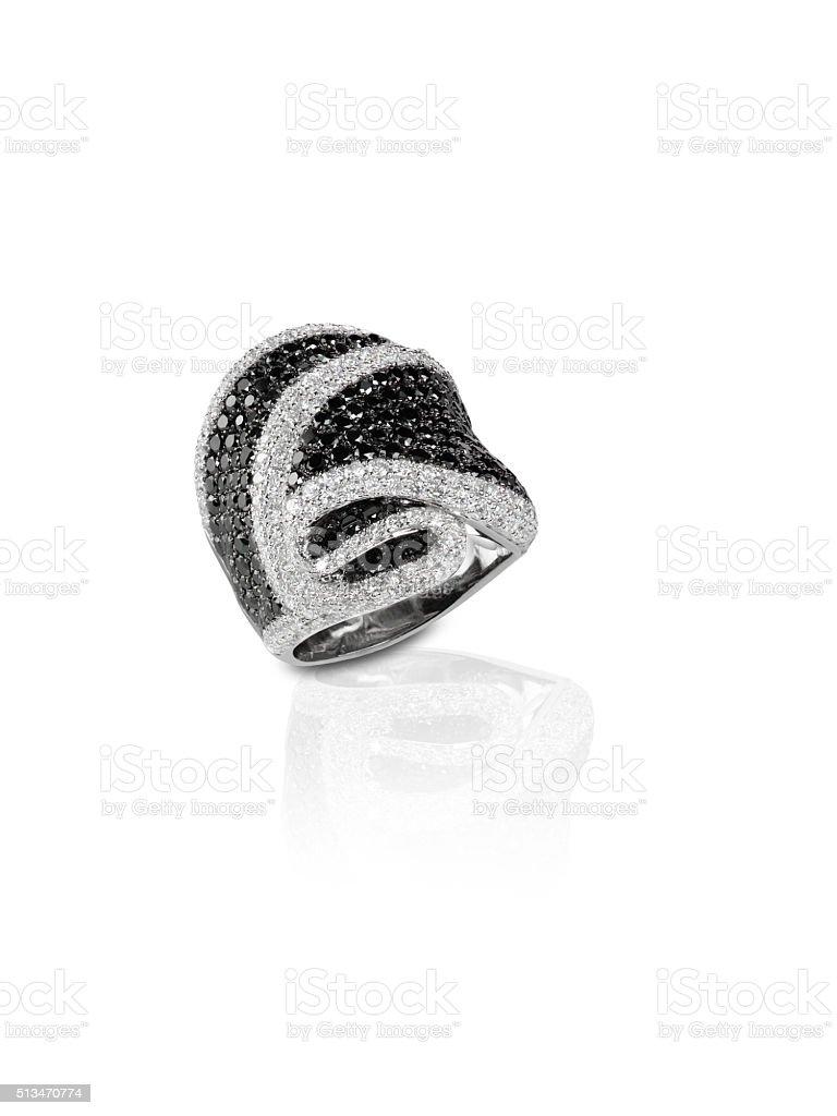 Black Onyx and Diamond Pave Wedding  Anniversary Ring stock photo