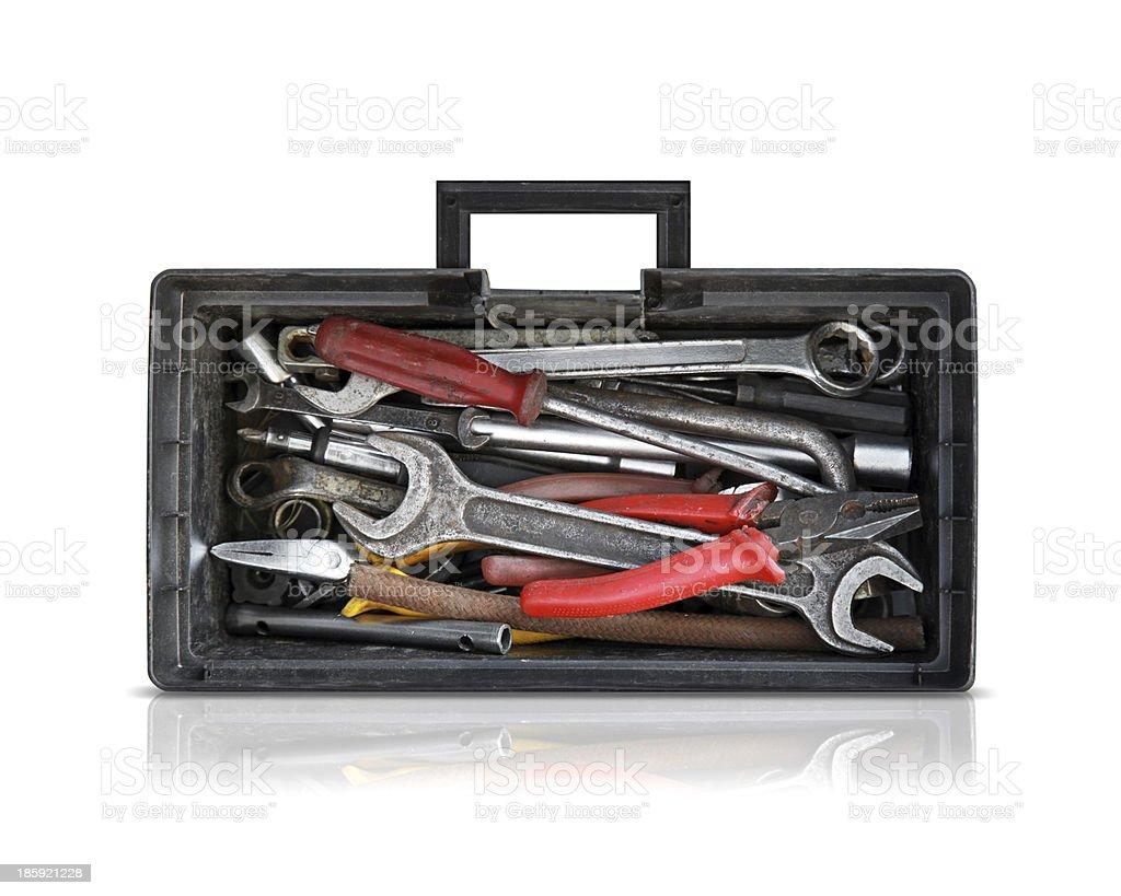 Black opened toolbox isolated on white royalty-free stock photo