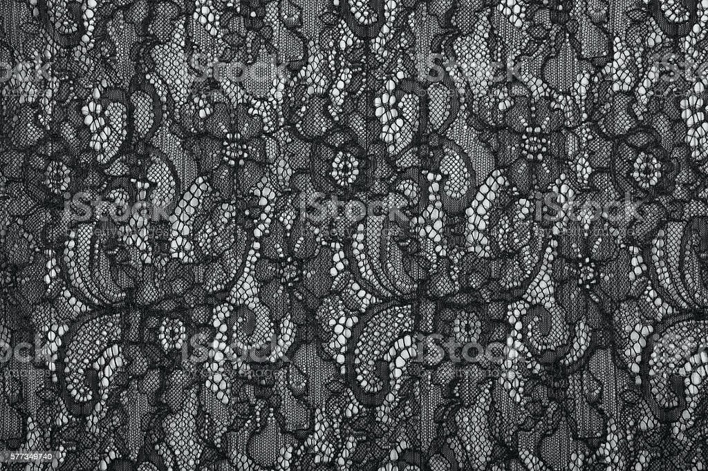 Black openwork lace background texture stock photo