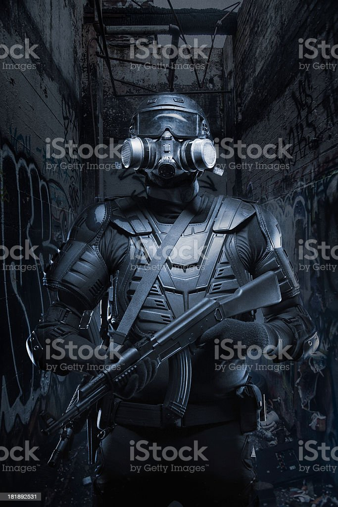Black Ops Tactical post apocalypse soldier AR-15 AK-47 stock photo