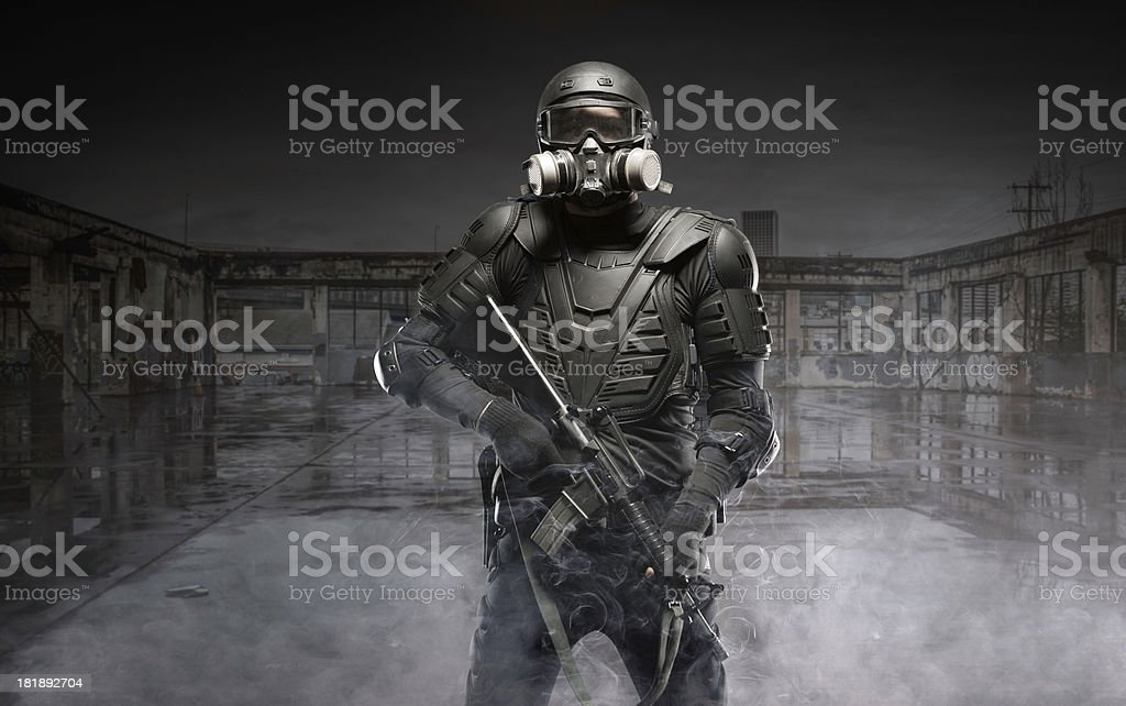 Black Ops Tactical post apocalypse soldier AR-15 stock photo