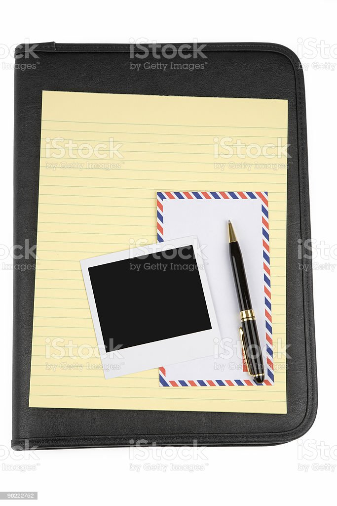 black padfolio and letter paper stock photo