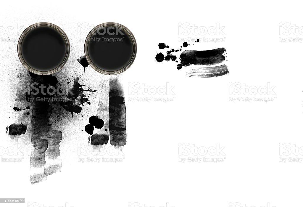 Black paint on white backgound stock photo