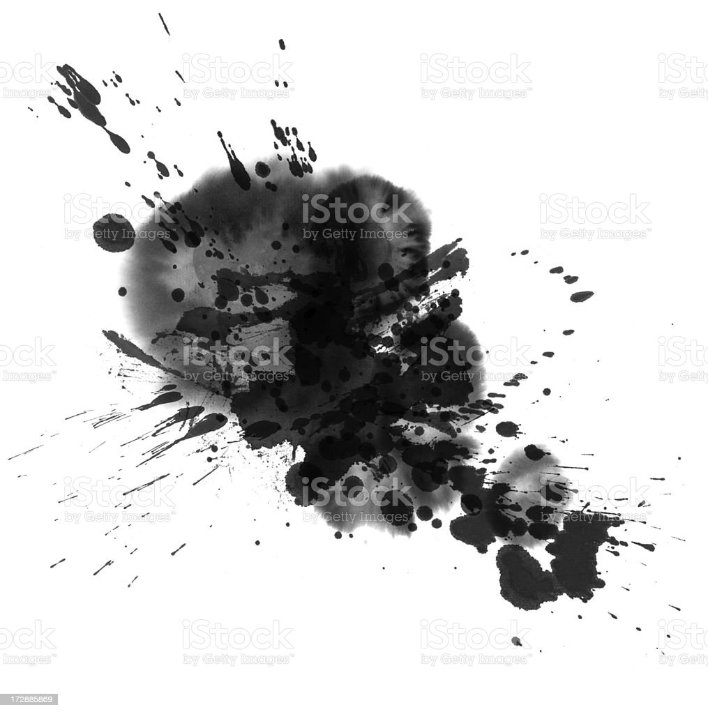 Black paint splatter against a white background royalty-free stock photo