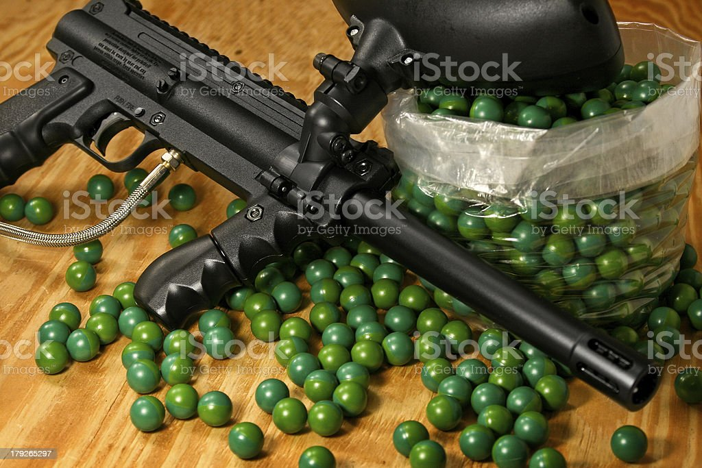 Black Paintball Gun and Ammo royalty-free stock photo