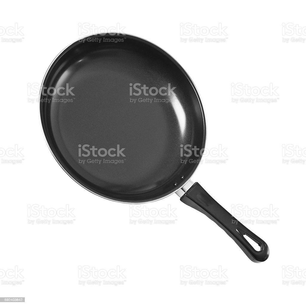 black pan isolated on white stock photo