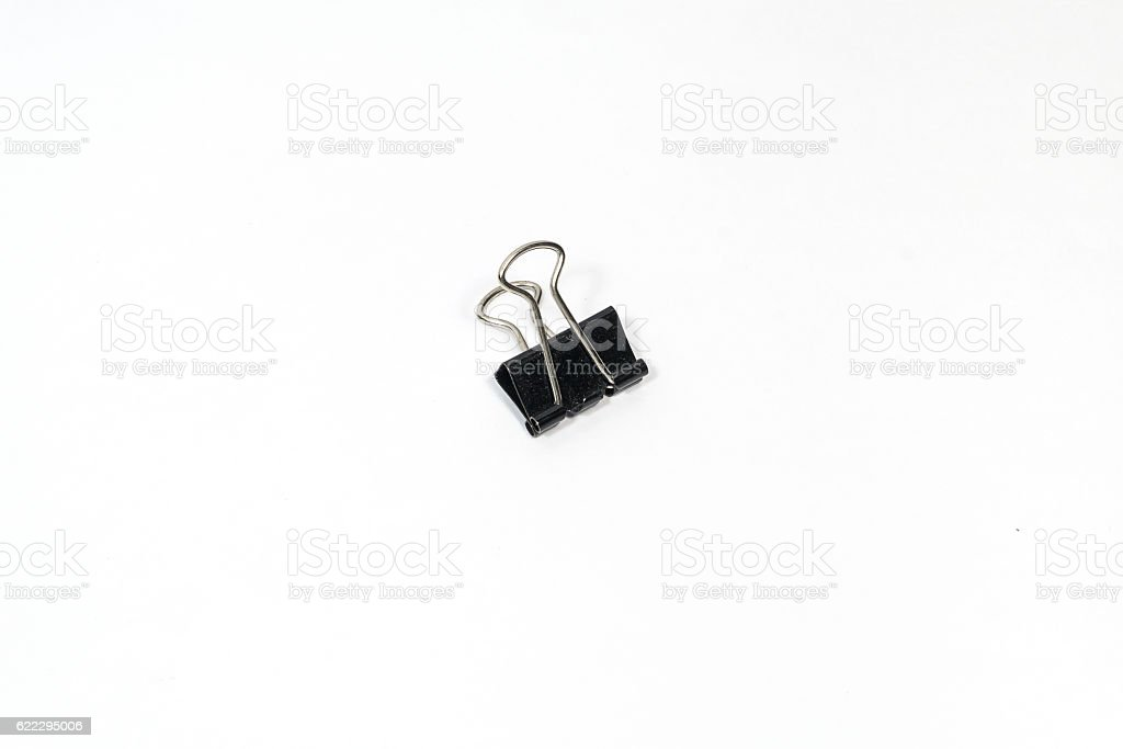 Black Paper clip (Binder clip) isolated on white background stock photo