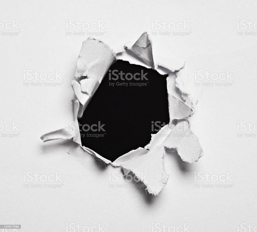 Black Paper Hole stock photo