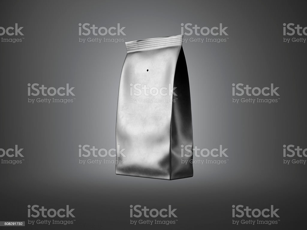 Black paper package for bulk products, coffee, nuts. Dark background stock photo