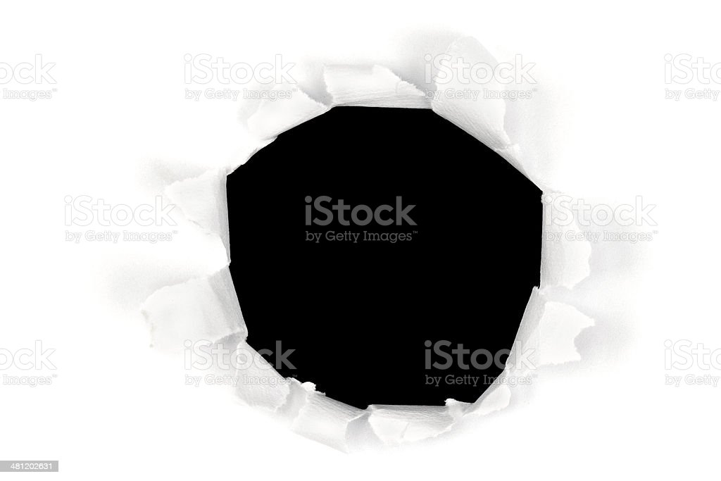 Black Paper Torn Hole stock photo