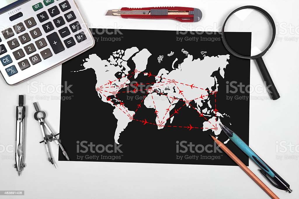 black paper with drawing map stock photo