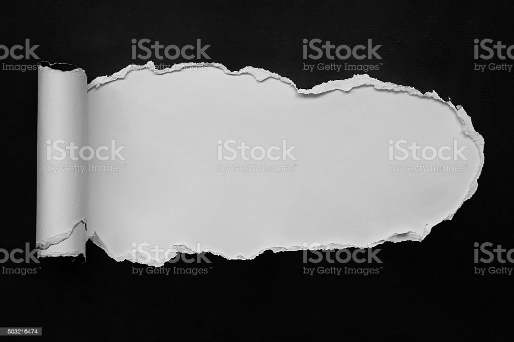 Black paper with page curl. stock photo