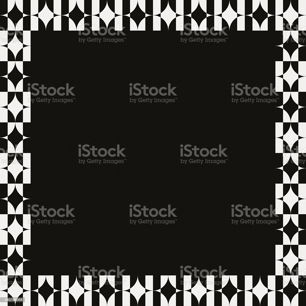 Black paper with white frame geometric pattern stock photo
