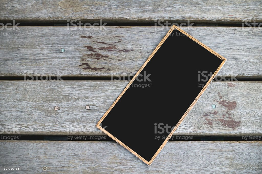 black paper with wooden frame stock photo