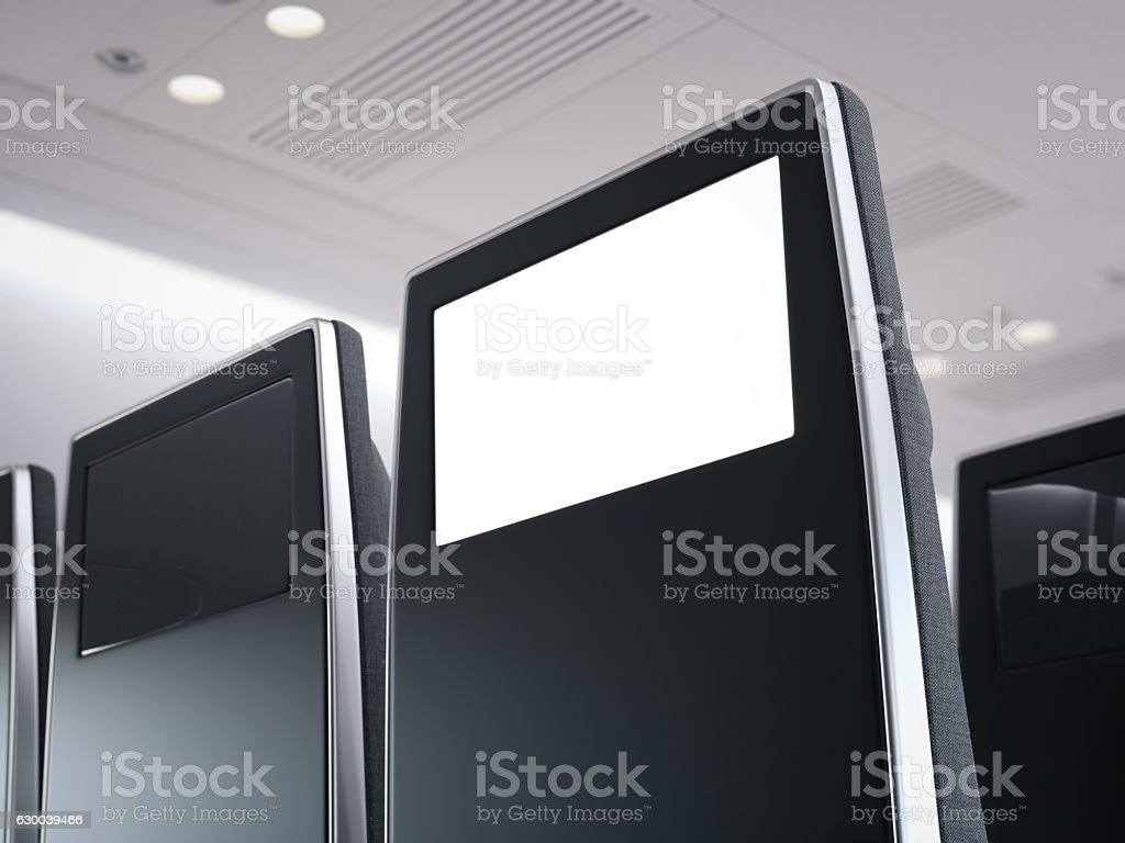 Black passenger seat with aircraft monitor. 3d rendering stock photo