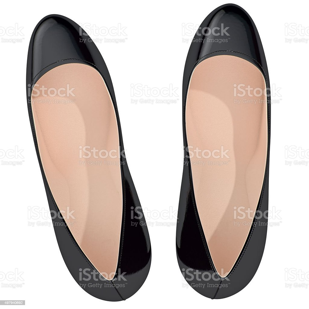 Black patent leather shoes on high heels, top view stock photo