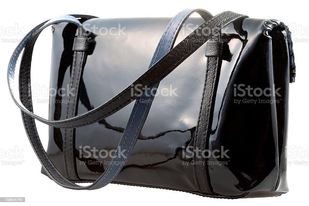 black patent leather woman's bag stock photo