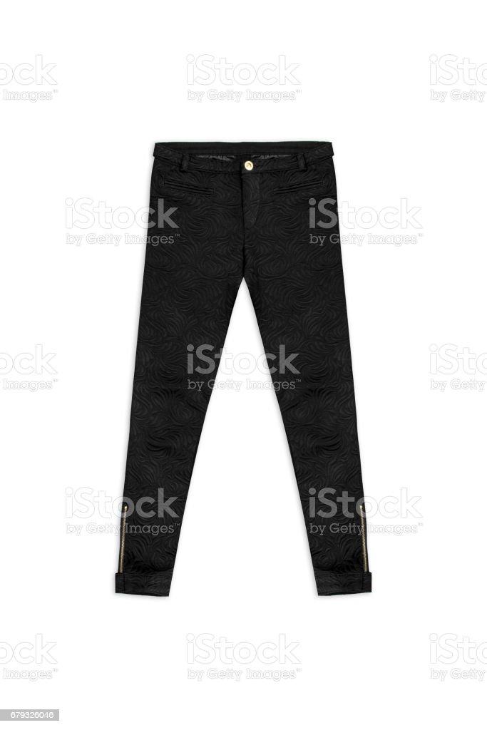 black pattern jacquard pants, isolated on white background stock photo