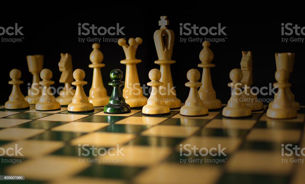 Black pawn play for white chess II stock photo