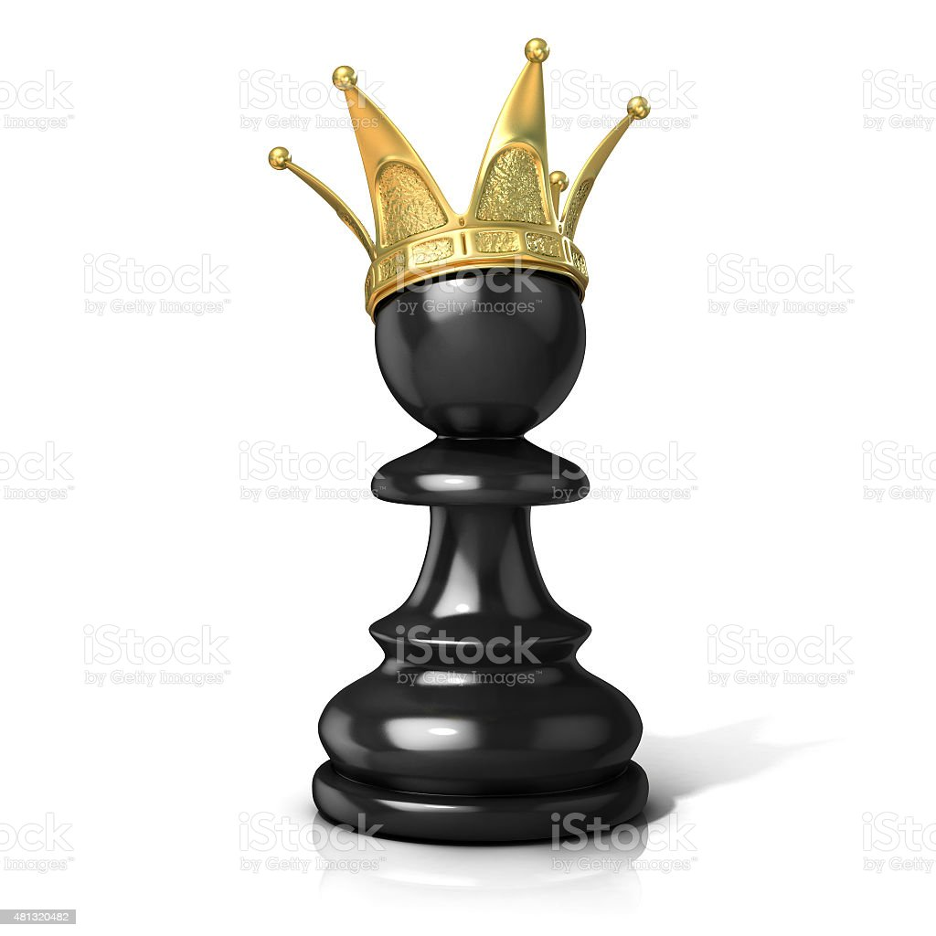 Black pawn with a golden crown stock photo
