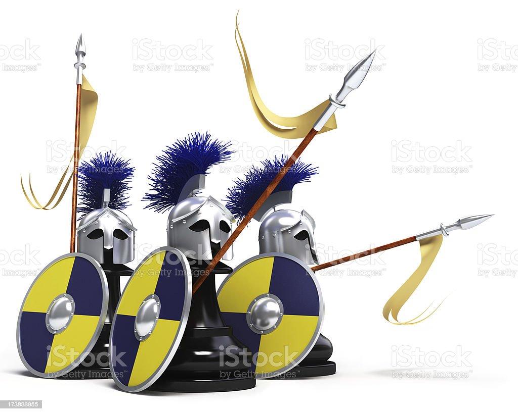 black pawns warriors stock photo