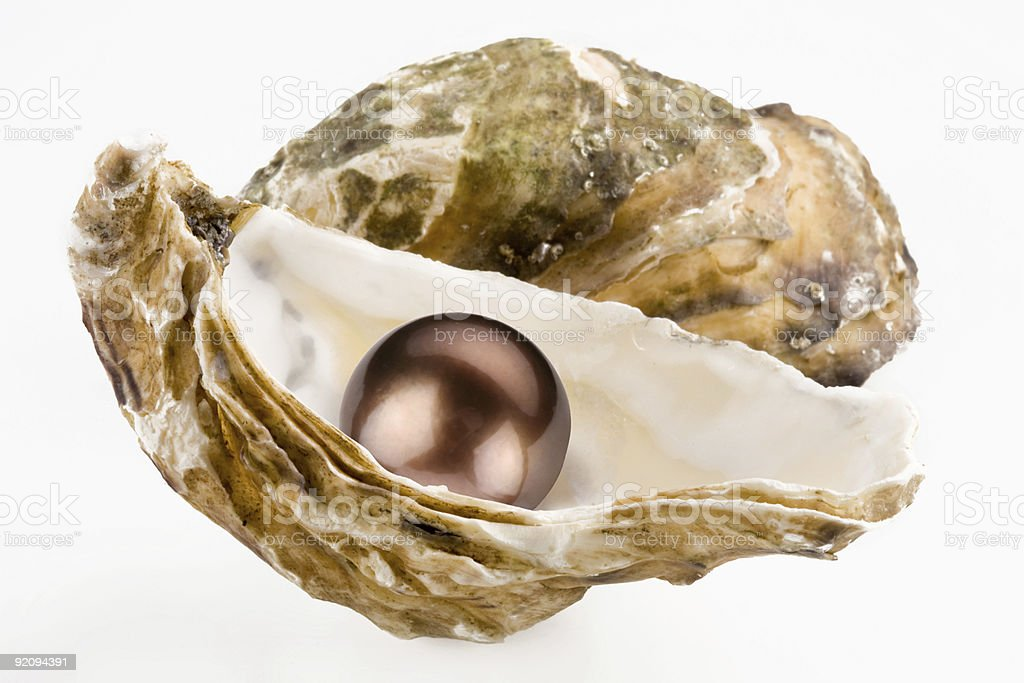 Black pearl is in a shell. royalty-free stock photo