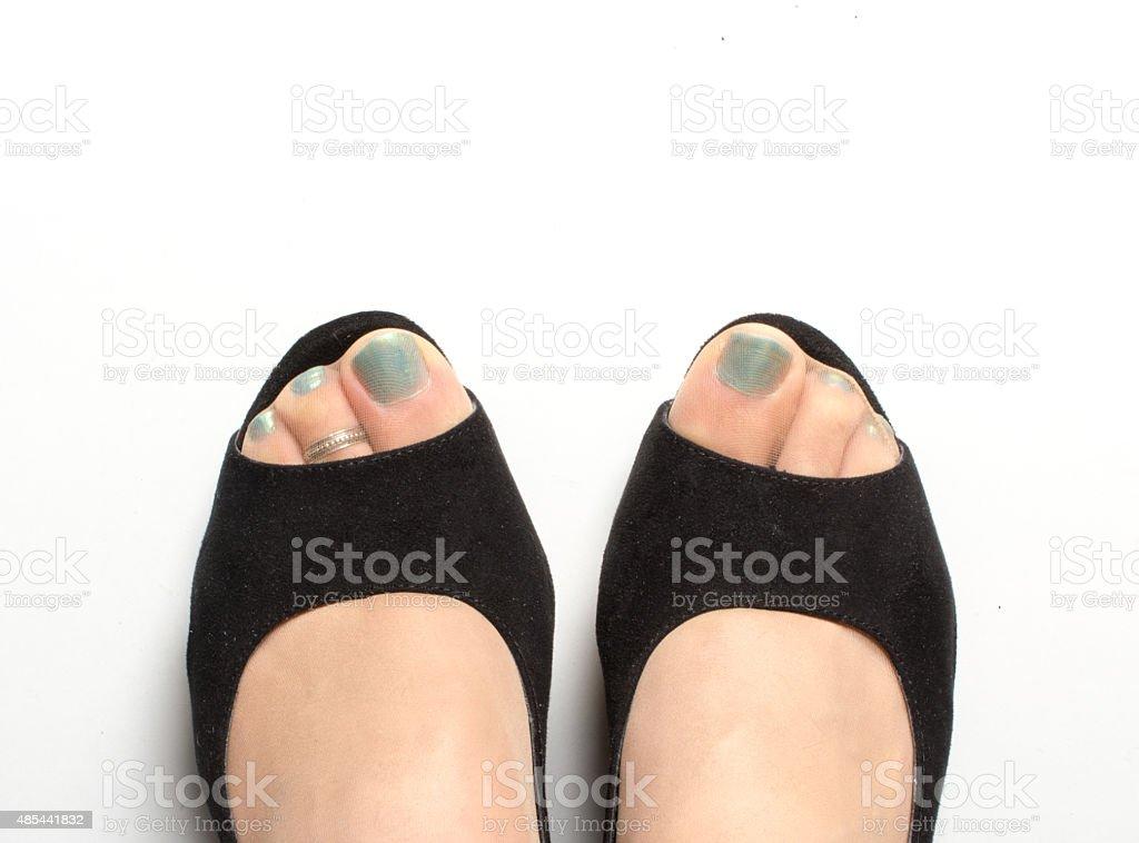 Black Peep toes stock photo