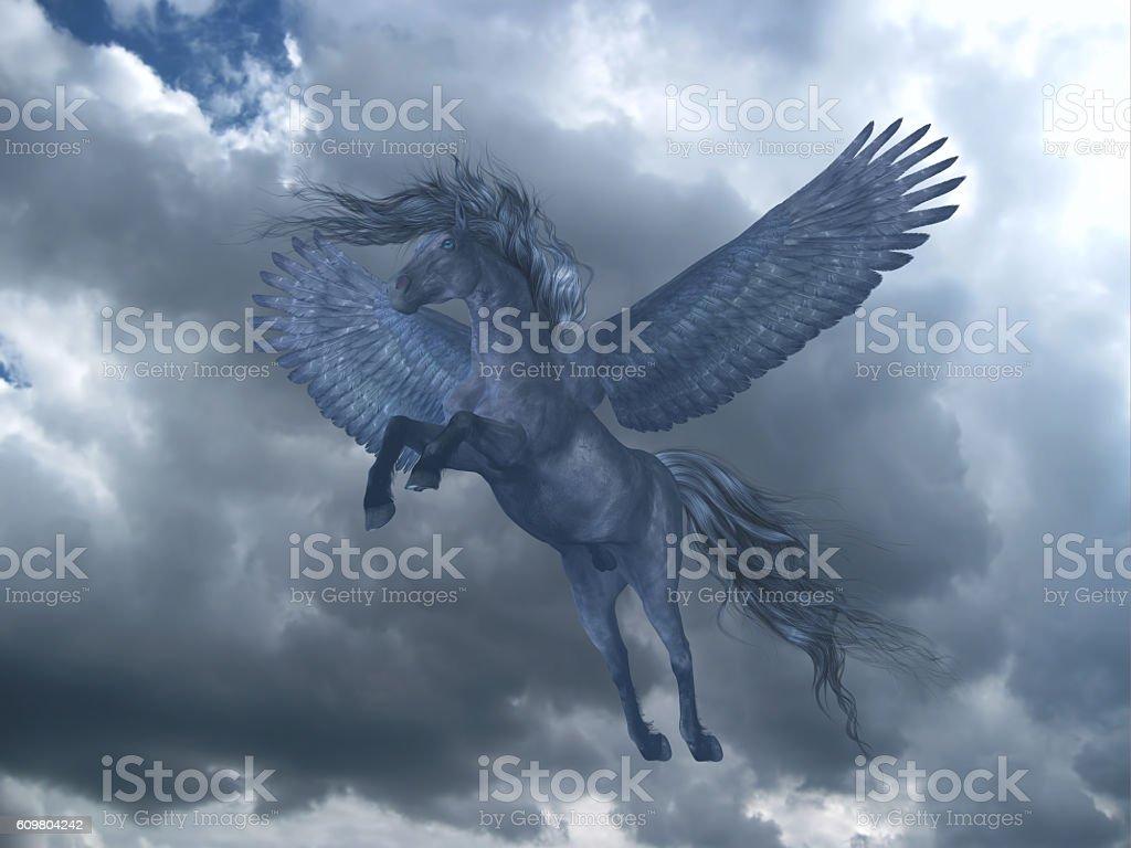 Black Pegasus in Blue Sky stock photo