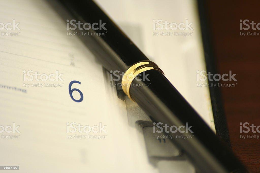 black pen and calendar stock photo