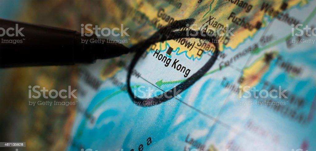Black Pen Circles Hong Kong on a Map stock photo