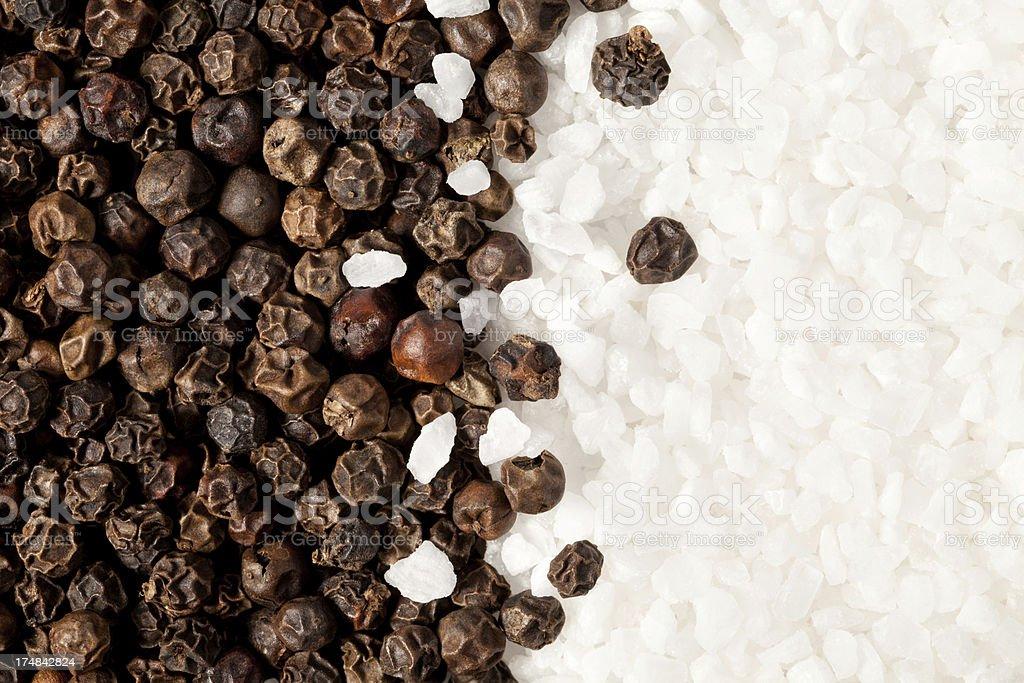 Black pepper and sea salt royalty-free stock photo