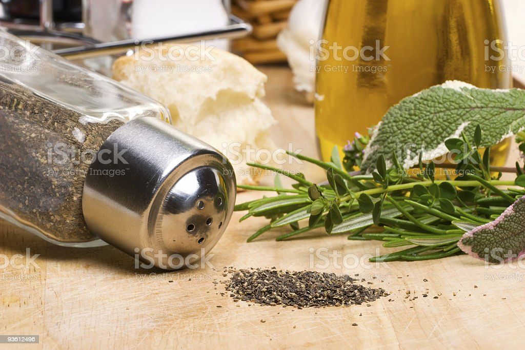 Black pepper and spicy herbs royalty-free stock photo