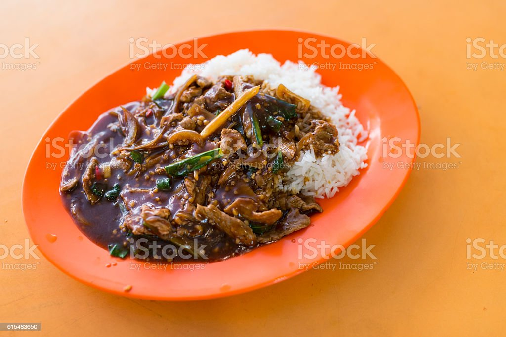Black Pepper Beef with Rice - Local Food of Singapore stock photo