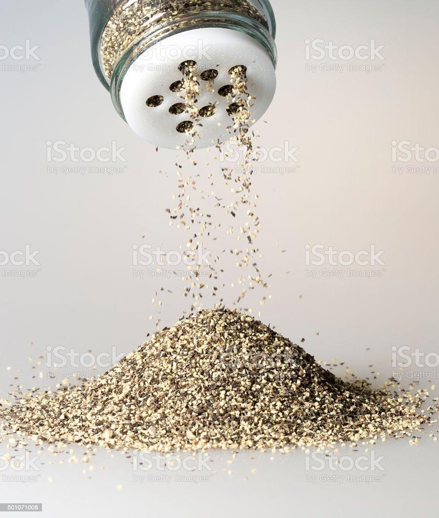 Black Pepper Grains Falling stock photo