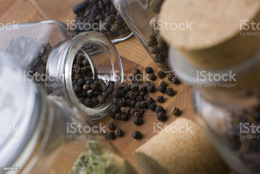 Black pepper spilled. royalty-free stock photo