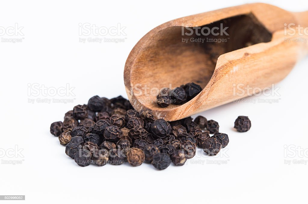 Black Pepper with spoon stock photo