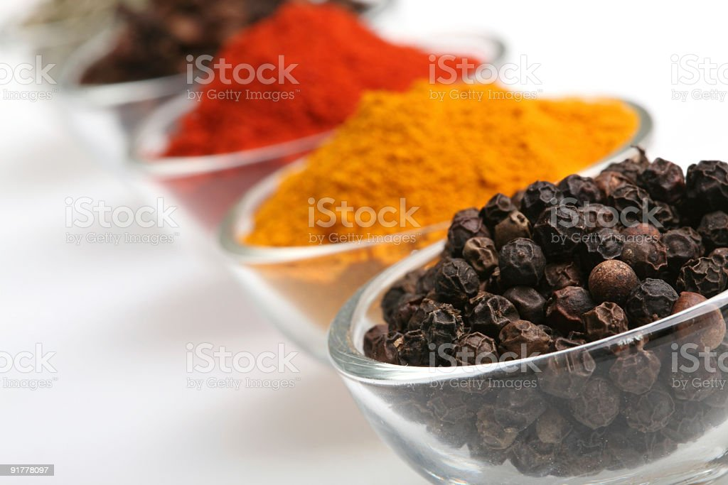 Black peppercorn in a glass bowl royalty-free stock photo