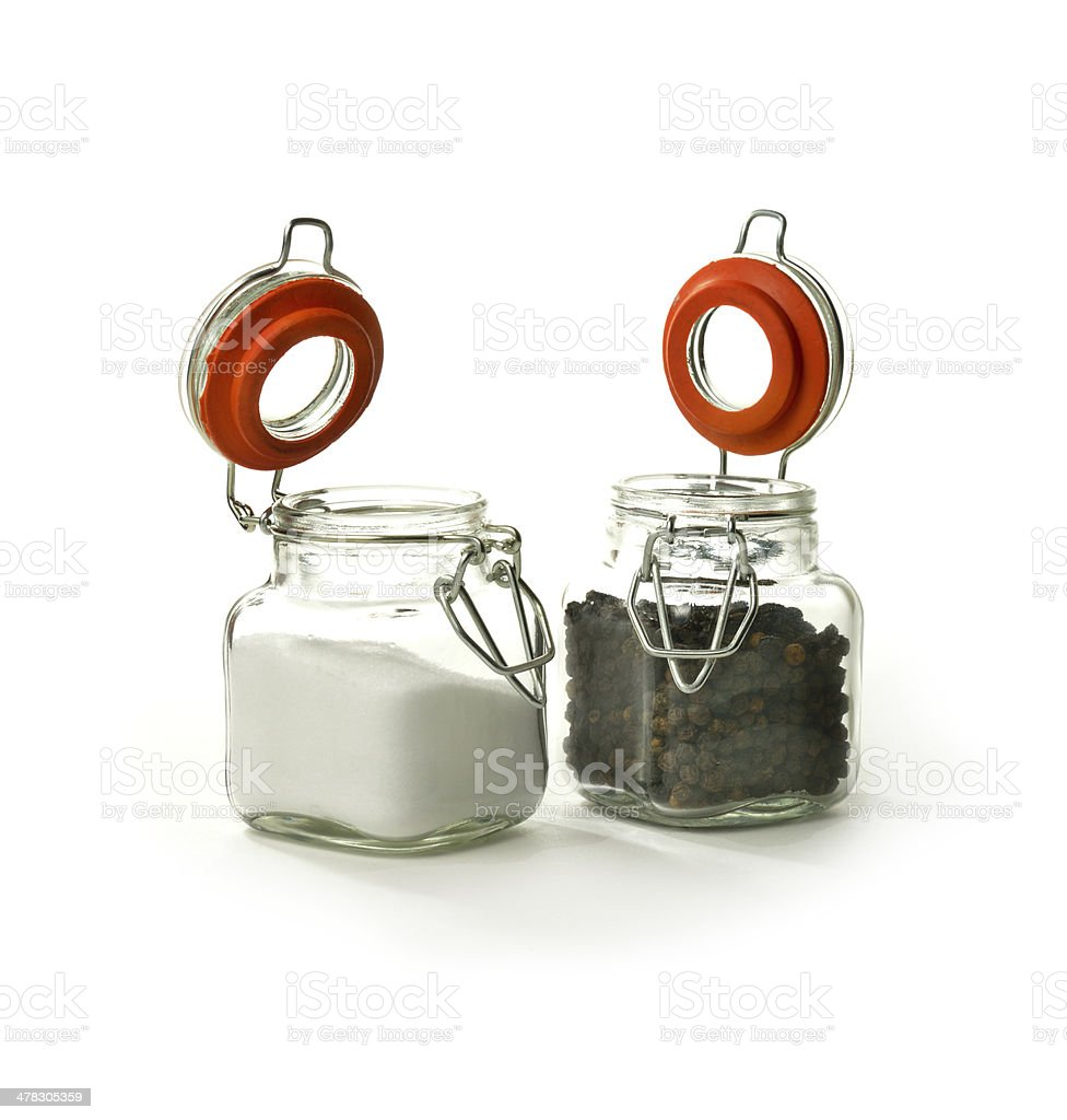 Black Peppercorns and Salt royalty-free stock photo