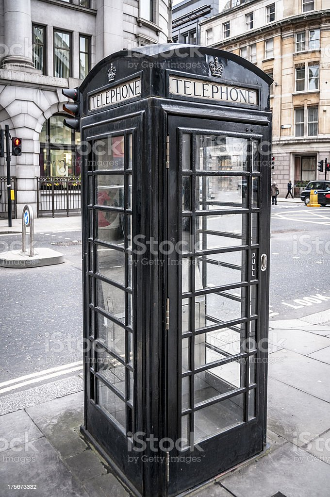 Black Phone Box In London, England royalty-free stock photo