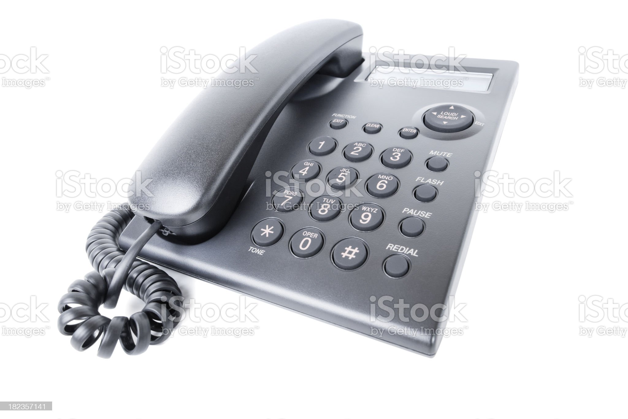 Black Phone Business Office Corporate Corded Telephone royalty-free stock photo