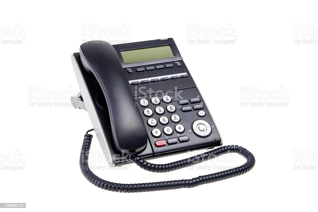 black phone closeup isolated on white background royalty-free stock photo