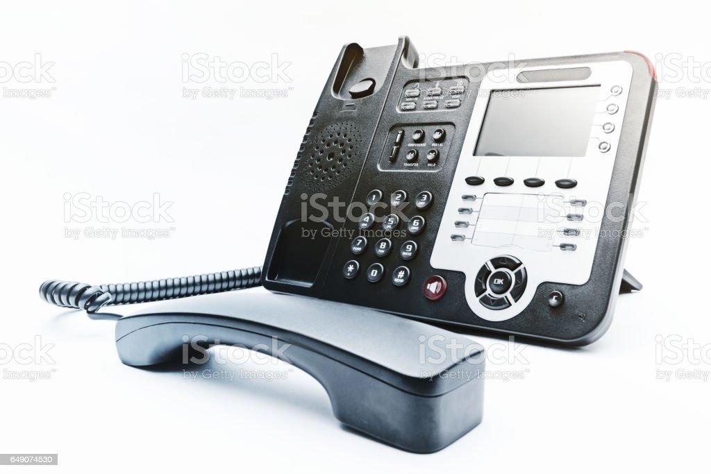 black phone on white background stock photo