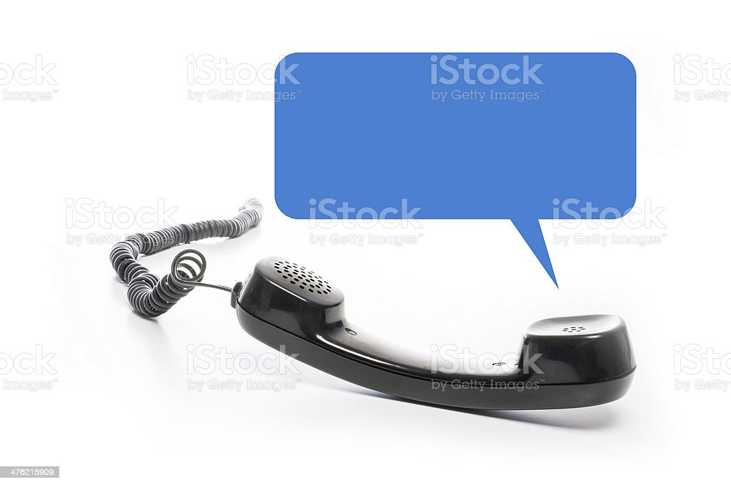 black phone receiver with empty textballoon stock photo